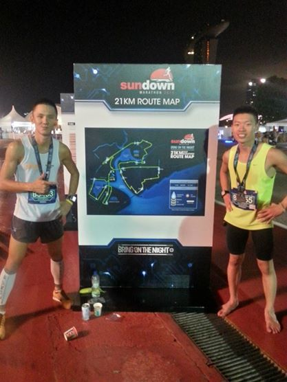 Sundown Marathon w/ fellow runner, Germanium Soh