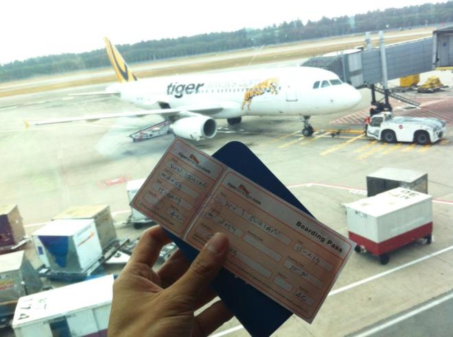 my paper boarding pass from Tiger Airways - managed to squeeze myself into a flight just 30mins before take-off after my earlier flight got cancelled.